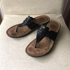 Ugg Woven Black Leather Thong Sandal size 8